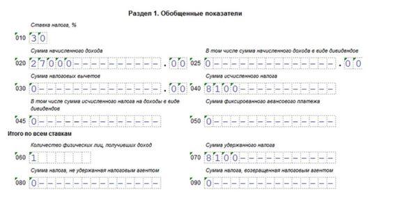 Особенности отражения доходов в 6 НДФЛ