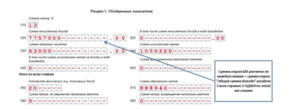 Сопоставление сведений по строке 020 с иными показателями декларации 6