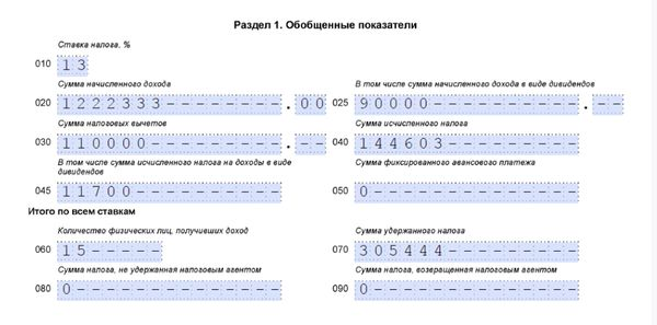 Пример заполнения строки 60 первого раздела 6 НДФЛ