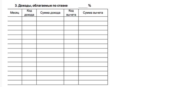 Структура таблицы вычетов и нормативные акты для разных видов доходов для 2 НДФЛ