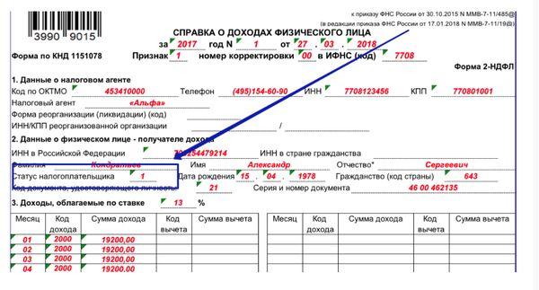Как правильно заполнять статус налогоплательщика в 2 НДФЛ